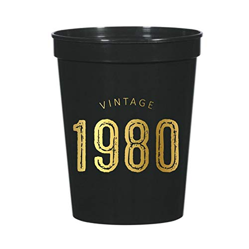 Vintage 1980 Cups for a 40th Birthday Party, Set of 10 Plastic Stadium Cups, Funny Fun Gag Gift 40th Birthday Decoration