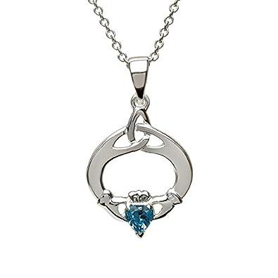 Topaz CZ November Celtic Knot NEW 925 Sterling Silver Trinity Heart Necklace