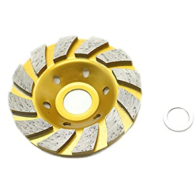 HUELE 4-Inch Concrete Turbo Diamond Grinding Cup Wheel for Angle Grinder 12 Segs Heavy Duty ,Yellow