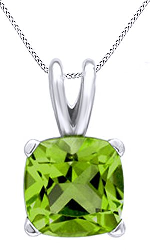 Cushion Cut Solitaire Simulated Peridot Pendant Necklace in 14k White Gold Over Sterling Silver (2 Cttw)