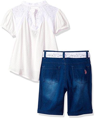 U.S. Polo Assn.. Big Girls' Fashion Top and Short Set, Diamond Texture Blouse White, 7 by U.S. Polo Assn. (Image #2)