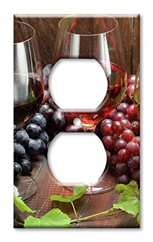 Art Plates Duplex Outlet Cover Wall Plate - Wine with Grapes