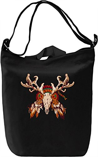 Indian deer skull Borsa Giornaliera Canvas Canvas Day Bag| 100% Premium Cotton Canvas| DTG Printing|