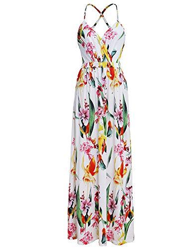 Women's Boho Wrap Maxi Dresses - Sexy Spaghetti Strap Floral Beach Sun Dresses (X-Large, White-Milk Silk)