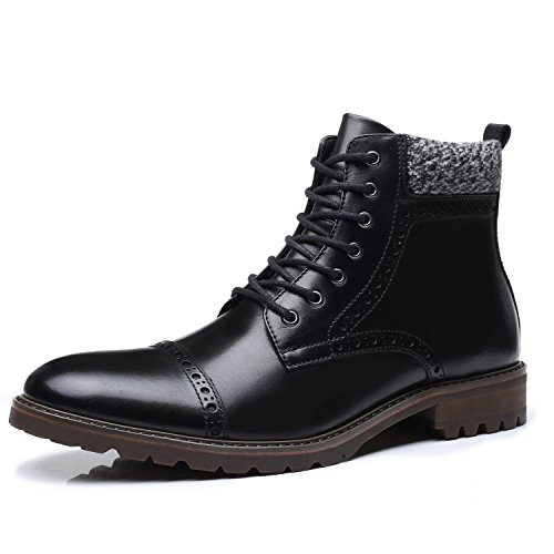 Mens Casual Winter Boots (La Milano Mens Leather Cap Toe Lace Up Winter Casual Dress Boot Classic Comfortable Dress Shoes For Men, Deeno-1-black, 8.5 D(M) US)