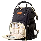 KIDZY Travel Diaper Bag Backpack: Large Capacity Waterproof Baby Nappy Bag Travel Organizer That Includes Stroller Straps and Changing Pads.