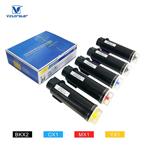 5 Packs (2BK+CMY) Compatible Toner Cartridges for Xerox Phaser 6510 WorkCentre 6515 The Highest Volume Yield 5500 Pages for BK & 4300 Pages for C/M/Y VICTORSTAR for Xerox Laser Printers 6510 6515 ()