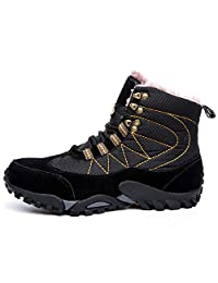 TQGOLD Mens Waterproof Mid Outdoor Hiking Boots Warm Non Slip Winter Boots with Fully Fur Lined