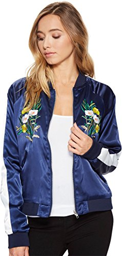 (Romeo & Juliet Couture Women's Floral Bomber Jacket Navy Medium)