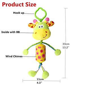 Baby Infant Developmental Interactive Rattle Toy Clip On Pram and Pushchair, Morbuy Soft Hanging Wind Chimes Rattles…