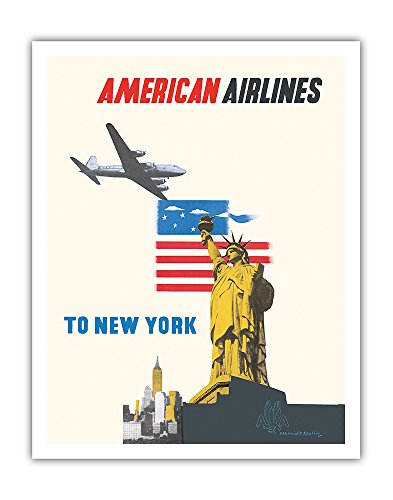 Pacifica Island Art New York - American Airlines - Statue of Liberty - Vintage Airline Travel Poster by Edward McKnight Kauffer c.1948 - Fine Art Print - 11in x 14in