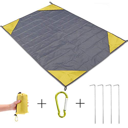 "Portable Picnic Blanket,OuTera Compact Beach Pocket Mat,Nylon Beach Mat for Outdoor,Waterproof Picnic Mat for Travel,Hiking, Camping,Super Large Beach Mat Perfect for Family (60""x 55"",Yellow)"