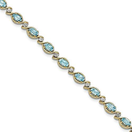 Bracelet en Or 14carats avec Topaze Bleu Diamant