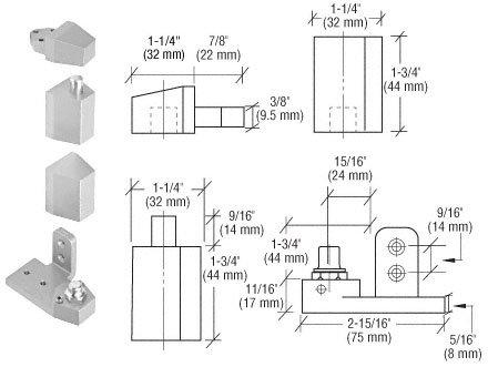 CRL Offset Satin Aluminum Left Hand Pivot Set Flush with Frame Face