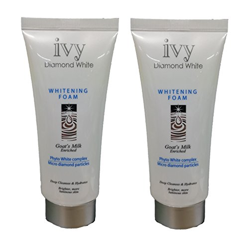 JAPAN FAVOURITE FACE WASH - TWO TUBES of IVY DIAMOND WHITE Milk Face Wash / Facial Cleanser with MICRO-DIAMOND PARTICLES & GOAT MILK (180G / 6.3 OZ each TUBE) by Leivy - Anti-aging Moisturizing