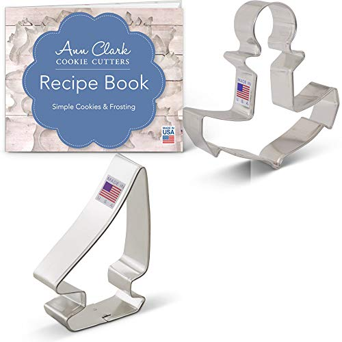 - Ann Clark Cookie Cutters 2-Piece Nautical Cookie Cutter Set with Recipe Booklet, Sailboat and Anchor