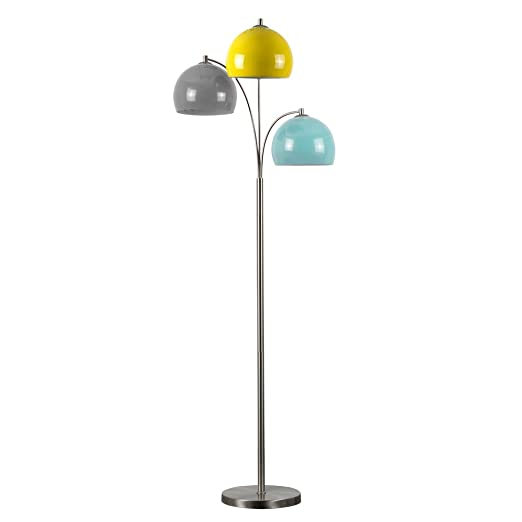 Modern designer style 3 way brushed chrome floor lamp complete modern designer style 3 way brushed chrome floor lamp complete with mini arco style yellow aloadofball Gallery