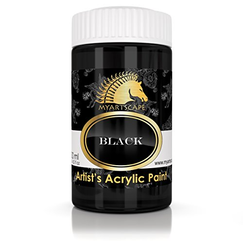 Acrylic Paint - Black - 300ml - Artist Quality Paints for Painting Canvas, Wood, Clay, Fabric, Nail Art, Ceramic & Crafts - Heavy Body Color - Professional Supplies by MyArtscape