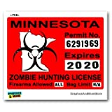 Minnesota MN Zombie Hunting License Permit Red - Biohazard Response Team - Window Bumper Locker Sticker