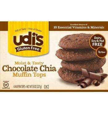 Udi's Gluten Free Chocolate Chia Muffin Tops (Pack of 6)