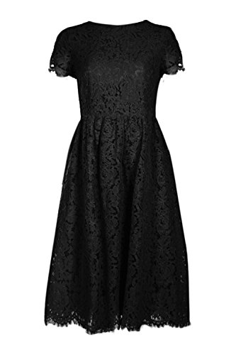 Boohoo Womens Boutique Ola Eyelash Lace Midi Skater Dress In Black Size - Las Boutique Olas