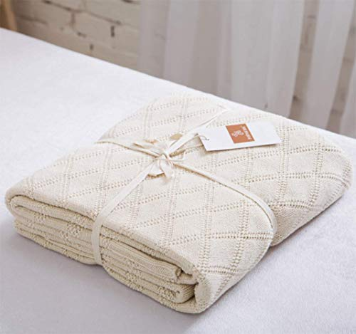 Longhui bedding Cotton Cable Knit Throw Blanket for Couch Chairs Beach Sofa, Home Decorative Blanket, Cream 50 x 60 inch Gift a Washing Bag (Decorative Beach Chairs)
