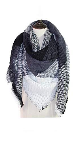 JINPENG imitation Cachemire en treillis écharpe châle épaississement carré  épais - Bleu Gris- Taille L  Amazon.fr  Vêtements et accessoires 9a91cf6792b