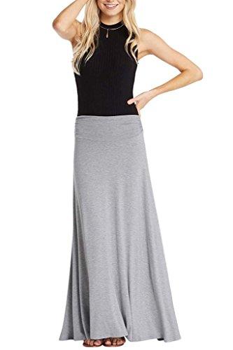 Poshsquare Women Rayon Maxi Ruched High Waist Comfy Long Skirt Heather Grey S (Skirt Rayon Spandex)