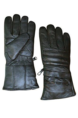 Men's Black Leather Rain Cover Motorcycle Gloves Gauntlets Rk-1016 (Mens Padded Leather Gauntlet Gloves)