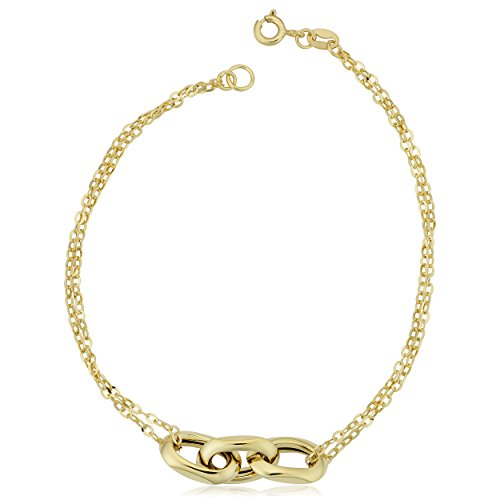 Kooljewelry 14k Yellow Gold Triple Oval Link Double Strand Bracelet (7.5 ()