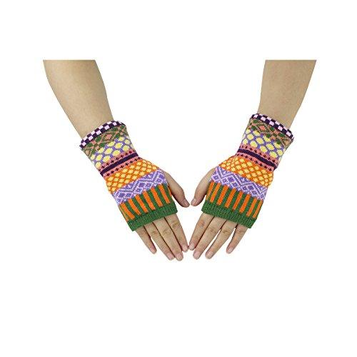 Zmart Women Color Fingerless Mittens Doule Knitted Hand Gloves Green Finger