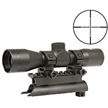 Ultimate Arms Gear Tactical SKS 4x30 mm Mil Dot Reticle Rifle Hunting Sniper Scope with See Thru Lens Caps + Stealth Black Steel SKS 7.62x39 Rifle See Through Receiver Cover Replacement High Profile Tactical Scope Weaver Picatinny Rail Mount Complete With Rings