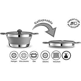 Gourmia Collapsible Pot – Stainless Steel, Silicone and Glass Lid – for Gas and Electric Stove Cooking – Great for Outdoors, Hiking, Camping, Traveling – BPA Free