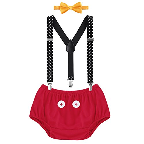 Baby Boys Cake Smash Outfit First 1st 2nd Birthday Christmas Mickey Bloomers Diaper Cover + Y-back Clip-on Suspenders + Bow Tie 3Pcs Set for Photo Shoot Formal Wedding Party Costume Red+Black 6-12M