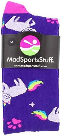 MadSportsStuff Half Cat Halfユニコーン–ネオンレインボーCaticorn Athletic Over the Calf Socks