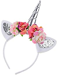 Rainbow Unicorn Horn Headband Girl Birthday Crown...