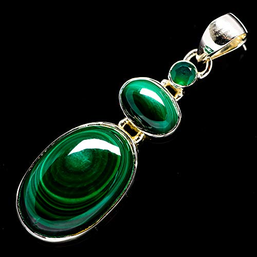 """Ana Silver Co Malachite, Green Onyx Pendant 2"""" (925 Sterling Silver) - Handmade Jewelry, Bohemian, Vintage PD694107 from Ana Silver"""