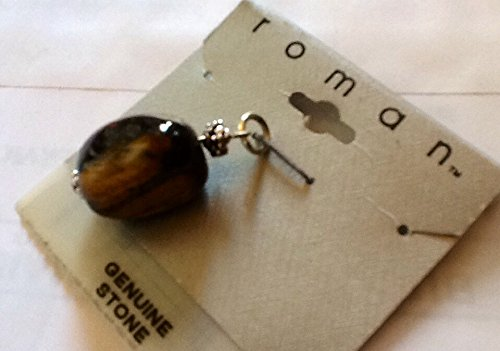 Brown Earthy Stone & Silver-tone Pendant ~ Jewelry Making & Design By Roman (Stone Roman Glass)