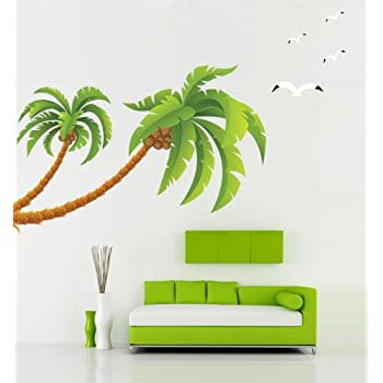 Delightful Kappier Giant Green Palm Trees With Seagulls Peel U0026 Stick Removable Wall  Decals Part 29