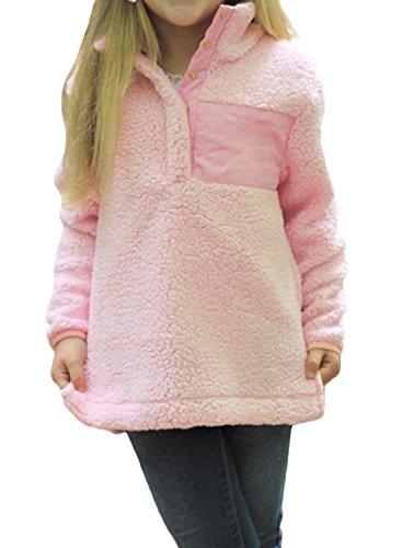 (ZESICA Girl's Long Sleeve Stand Buttons Collar Pebble Pile Fleece Sherpa Sweatshirts)