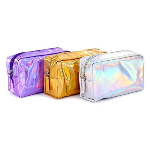 Amazon.com : Laser Cosmetic Bag Holographic Pencil Case Cosmetic Makeup Pouch Laser Zipper Purse Bag Toiletry Cases Gold : Beauty