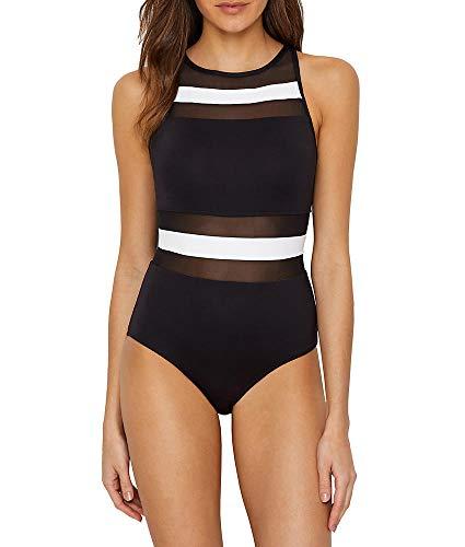 - Anne Cole Women's Mesh High Neck One Piece Swimsuit, Color Block Black/White, 8