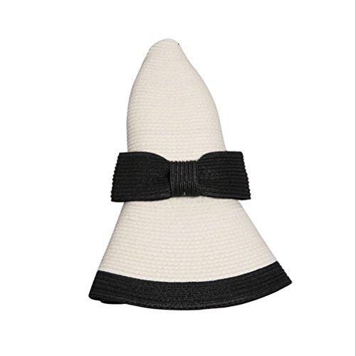 Home Prefer Womens Straw Sun Hat UPF50+ Wide Brim Floppy Hat Summer Beach Cap Cream