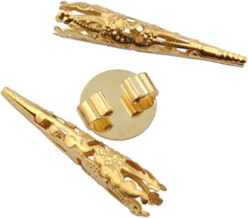 Blank Bolo 16mm Round Slide and Two Tips Gold Tone - 3pcs