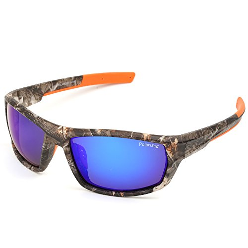 MOTELAN Polarized Casual Sports Sunglasses for Driving Fishing Hunting Golf Unbreakable Frame Blue