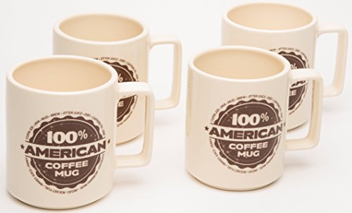 American Mug Pottery Ceramic Square Handle Coffee Mug, Made in USA, Ivory (17 oz - Pack of 4) ()