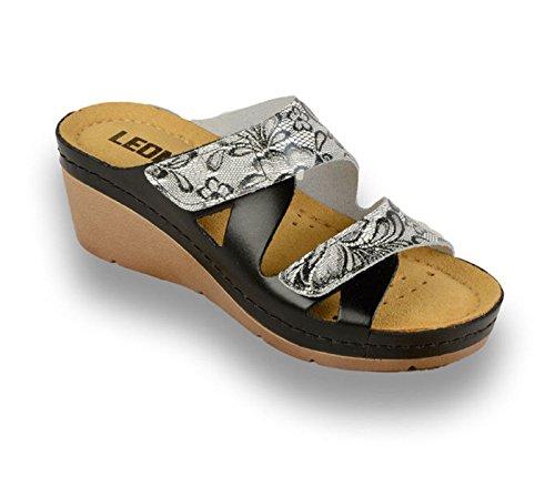 Femme en Mules Noire Chaussons Dentelle 1004 Dames Chaussures Cuir Leon Sandales Sabots wf7YxxZq