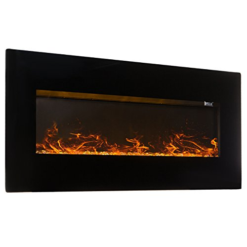 "Della XL Wide Electric Wall Mounted 1500W Fireplace with Remote, 60""-inch Black Della Infrared Heaters"