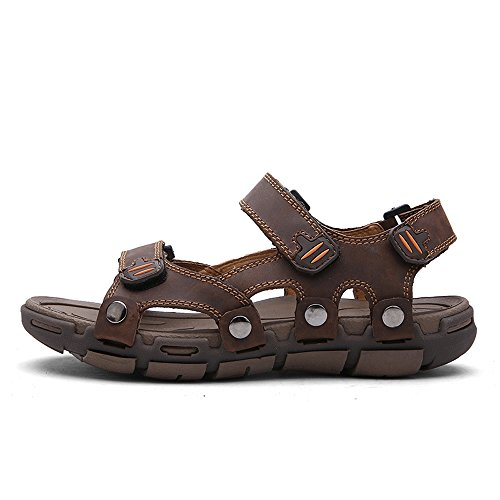 EnlleviiD Mens Open Toe Athletic Leather Sandals 3 Velcro Strap Outdoor Upstream Hiking Shoes new
