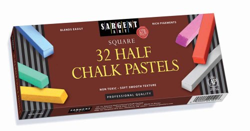 Sargent Art 22-4101 Colored Half Square Chalk Pastels, 32 Count by Sargent Art